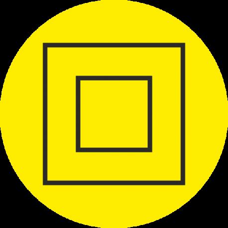 """Markierungsaufkleber """"Schutzisolierung Geräte der Schutzklasse 2"""" (gelb)"""