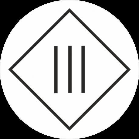 """Markierungsaufkleber """"Schutzisolierung Geräte der Schutzklasse 3"""" (weiß)"""