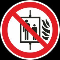 """Aufkleber """"Aufzug im Brandfall nicht benutzen"""""""