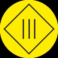 """Markierungsaufkleber """"Schutzisolierung Geräte der Schutzklasse 3"""" (gelb)"""