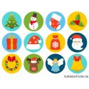Blatt mit verschiedenen Weihnachtsaufklebern (12 St.)