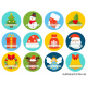 Beschreibbare Weihnachtsaufkleber mit Namensfeld (12 St.)