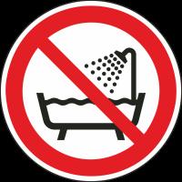 """Aufkleber """"Verbot, das Gerät in der Badewanne, der Dusche oder über mit Wasser gefülltem Becken zu benutzen"""""""