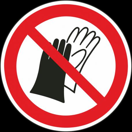 """Aufkleber """"Das benutzen von Handschuhen ist verboten"""""""