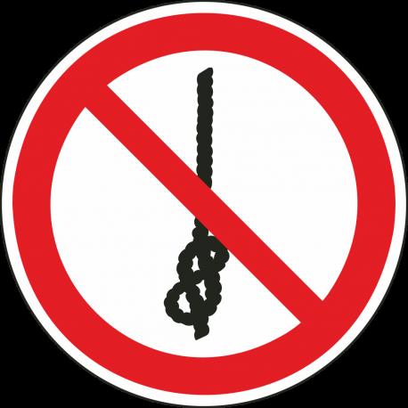 """Aufkleber """"Das Knoten von Seilen ist verboten"""""""
