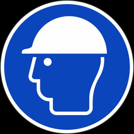 """Schilder """"Kopfschutz benutzen"""""""