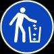 """Schilder """"Abfallbehälter benutzen"""""""