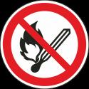 """Schilder """"Keine offene Flamme, offene Zündquelle und Rauchen verboten"""""""