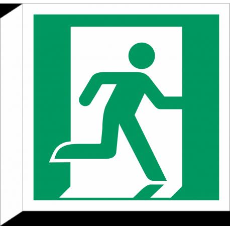 """Schilder """"Notausgang (rechts)"""" (rechtwinkliges Modell)"""