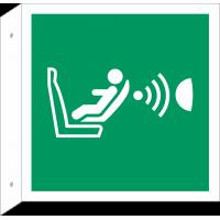 """Schilder """"Automatische Kindersitzerkennung (CPOD) und dessen Orientierung (CPOD)"""" (rechtwinkliges Modell)"""