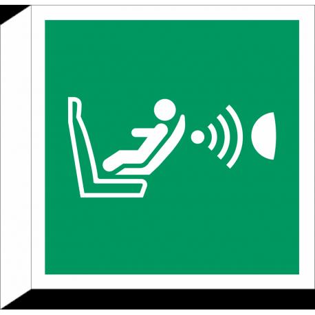 """Schilder """"Automatische Kindersitzerkennung und dessen Orientierung (CPOD)"""" (rechtwinkliges Modell)"""