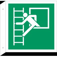 """Schilder """"Notausstieg Fluchtleiter"""" (rechtwinkliges Modell)"""