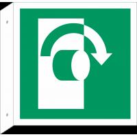 """Schilder """"Öffnet rechtsdrehend"""" (rechtwinkliges Modell)"""