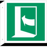 """Schilder """"Tür öffnet durch Aufdrücken auf der linken Seite"""" (rechtwinkliges Modell)"""
