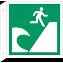 """Schilder """"Tsunami-Evakuierungsgebiet"""" (rechtwinkliges Modell)"""
