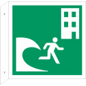 """Schilder """"Tsunami-Evakuierungsgebäude"""" (rechtwinkliges Modell)"""