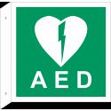 """Schilder """"AED (Automatisierter Externer Defibrillator)"""" (rechtwinkliges Modell)"""