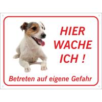 "Jack Russell Terrier ""Hier wache ich""-Schild (rot)"