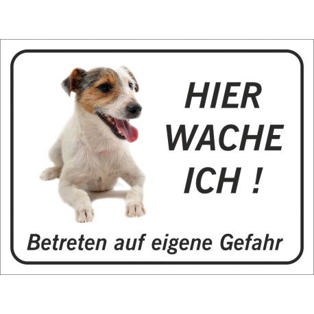 """Jack Russell Terrier """"Hier wache ich""""-Schild (schwarz)"""