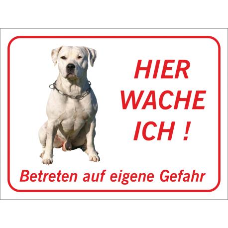 "Perro Pitbull ""Hier wache ich""-Schild (rot)"