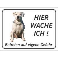 """Perro Pitbull """"Hier wache ich""""-Schild (schwarz)"""