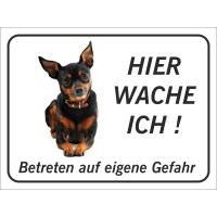 """Chihuahua """"Hier wache ich""""-Schild (schwarz)"""