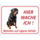 """Rottweiler """"Hier wache ich""""-Schild (rot)"""