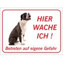 """Boxer """"Hier wache ich""""-Schild (rot)"""