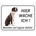 """Boxer """"Hier wache ich""""-Schild (schwarz)"""