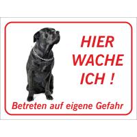 """Schwarzer Bullmastiff  """"Hier wache ich""""-Schild (rot)"""