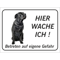 """Schwarzer Bullmastiff """"Hier wache ich""""-Schild (schwarz)"""