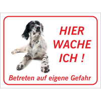 "English Setter ""Hier wache ich""-Schild (rot)"