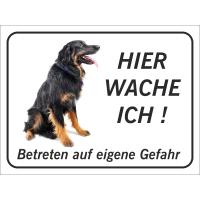 """Hovawart """"Hier wache ich""""-Schild (schwarz)"""