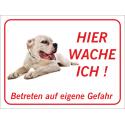 """Dogo Argentino """"Hier wache ich""""-Schild (rot)"""