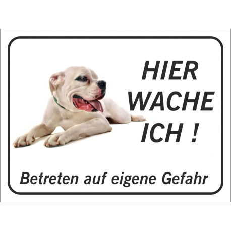 """Dogo Argentino """"Hier wache ich""""-Schild (schwarz)"""