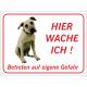 """Amerikanische Mastiff """"Hier wache ich""""-Schild (rot)"""