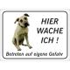 """Amerikanische Mastiff """"Hier wache ich""""-Schild (schwarz)"""