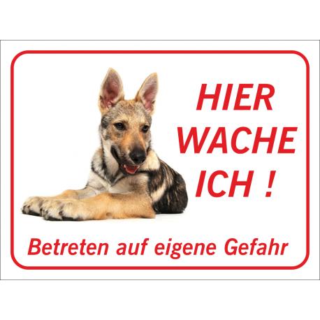 """Tschechoslowakischer Wolfhund """"Hier wache ich""""-Schild (rot)"""