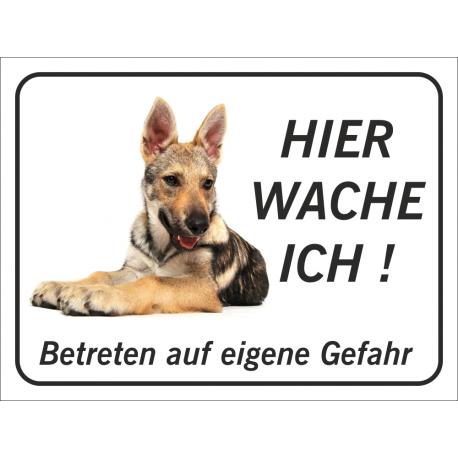 """Tschechoslowakischer Wolfhund """"Hier wache ich""""-Schild (schwarz)"""