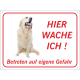 "Golden Retriever ""Hier wache ich""-Schild (rot)"