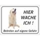 """Golden Retriever """"Hier wache ich""""-Schild (schwarz)"""
