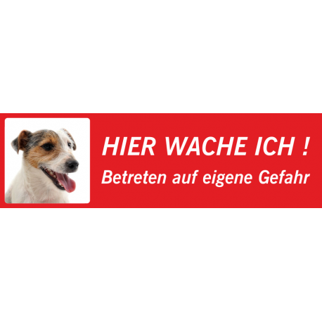 "Jack Russell Terrier ""Hier wache ich""-Schild (rot, niedrige Ausführung)"