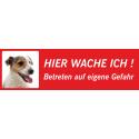 "Jack Russell Terrier ""Hier wache ich""-Schild (rot, niedriges Modell)"