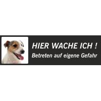 """Jack Russell Terrier """"Hier wache ich""""-Schild (schwarz, niedriges Modell)"""