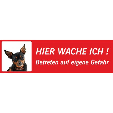 """Chihuahua """"Hier wache ich""""-Schild (rot, niedrige Ausführung)"""