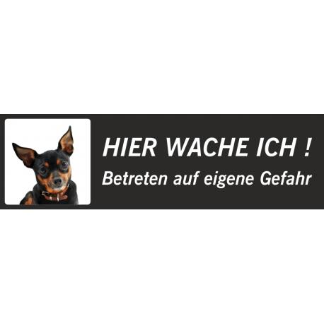 """Chihuahua """"Hier wache ich""""-Schild (schwarz, niedrige Ausführung)"""