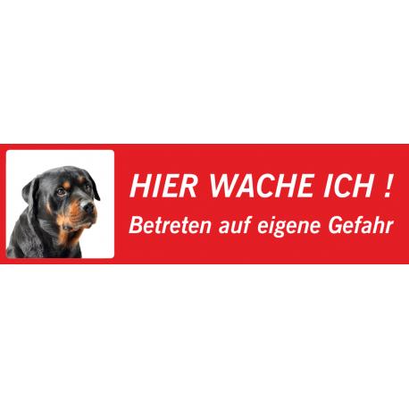 """Rottweiler """"Hier wache ich""""-Schild (rot, niedrige Ausführung)"""