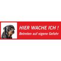 """Rottweiler """"Hier wache ich""""-Schild (rot, niedriges Modell)"""