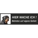 """Rottweiler """"Hier wache ich""""-Schild (schwarz, niedriges Modell)"""