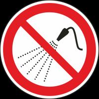 """Schilder """"Mit Wasser spritzen verboten"""""""